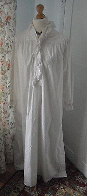 Beautiful antique nightdress; lace trim, monogram, fine white cotton, embroidery
