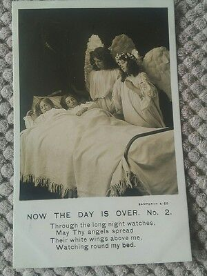 Vintage Religious Postcard. Now The Day Is Over One Verse