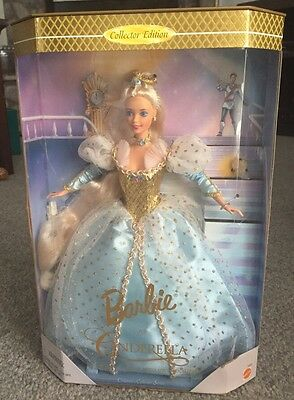 Barbie Princess Cinderella Doll Blue Party Ball Gown Gold Crown Toy Mattel 1996