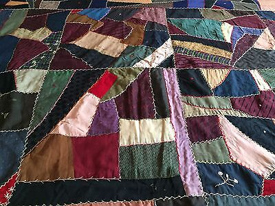 Antique Vintage Quilt Crazy Blocks Rich Fabrics Color