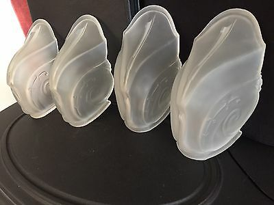 Art Deco Vintage And Very Rare 4 Slip Shades Globes  Frosted  For Chandelier