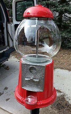"New 15"" tall, Glass Globe Metal Body Carousel Gumball Machine ONLY Bank"