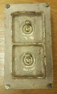 Vintage industral cast iron light switch 2 gang 1 way Walsall
