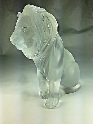 Large Vintage Authentic Lalique France Frosted Glass Bamara Lion Statue