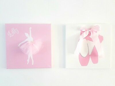 Handmade ballerina ballet dancer canvas wall art. Girls bedroom/nursery decor