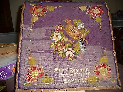 #1/17 antique wool needlepoint 3/ 1870 by Mary Beynon Partyfrnon AS IS BIRD 16""