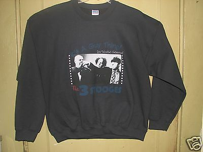 3 Stooges It's  A Guy Thing Black Adult Unisex XL Sweat Shirt .NEW! LAST ONE!