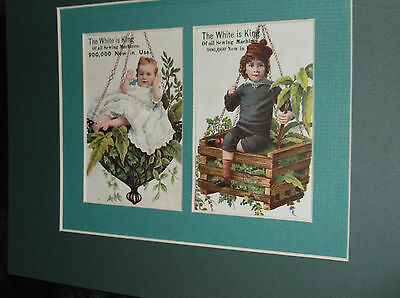 Trade Card Children White Sewing Machine Lot 2 Victorian 1880s Mat Matted Litho