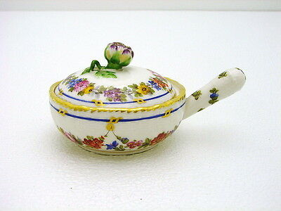 KPM Ceramic Ecuelle Tureen Pot w Floral & Leaf Finial Marked Hand Painted