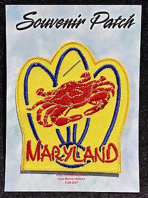 LMH PATCH Badge  MARYLAND CRAB  Seafood BLUE Red State Chesapeake Atlantic MD