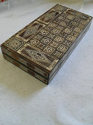 Rare Large Antique Persian Backgammon Qajar Khatam Box.middle East Micro Mosaic