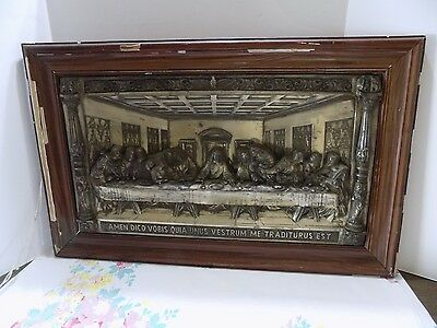 "Vintage Brass Metal Plaque of ""The Last Supper""Picture ~ 3D ~ Inscribed  (R10-6)"