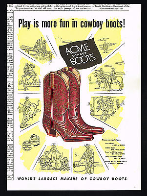 1954 Acme Cowboy Boots Play Is More Fun Vintage Print Ad
