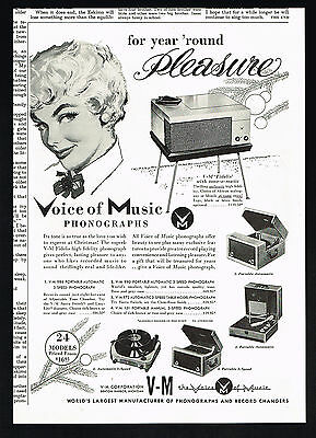 1954 V-M VM Voice Of Music Phonograph 5 Models Vintage Print Ad