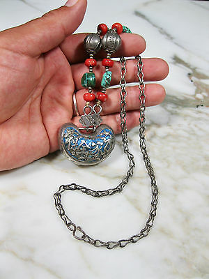 Qing Antique Chinese Repousse Silver Enamel Red Coral Turquoise Necklace Old