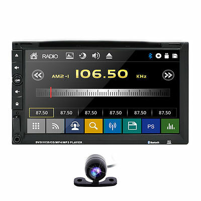 """Double Din 7"""" In Dash Touchscreen Car Stereo Dvd Usb Bluetooth Player Radio+Cam"""