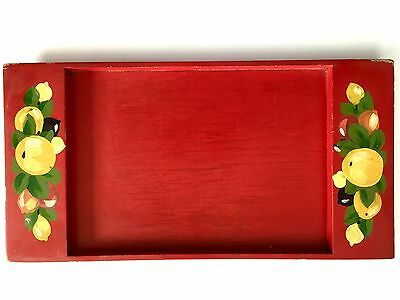 Vintage Hand Painted Toleware Fruit Design Red Wooden Tray