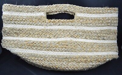 Pottery Barn Kids Teen Ivory Stripe Raffia Jute Basket Storage Bin Tan