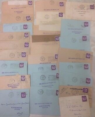 26 1950's Stamped Used Envelopes. Queen Elizabeth II. South England Post Marks.