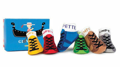 New Trumpette Giovanni Italy NonSkid Baby Socks 0-12 months - Boxed Set of 6