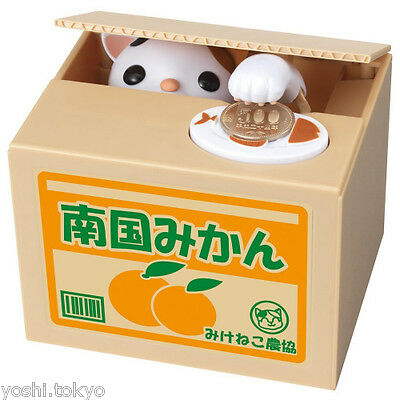 Cat kitty electronic piggy bank coin box JAPAN new Mikeneko cat with three color