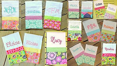 #2 Girls Custom Personalized Monogram Burp Cloth with Fabric and Ribbon