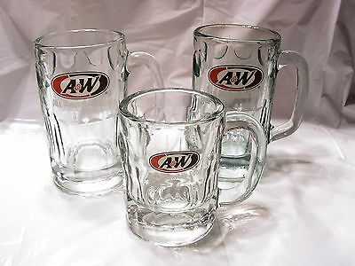 Vintage A&W Root Beer Mugs Glass Stein Large Baby Set of 3 Oval Logo Food