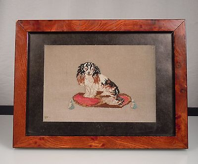 Antique Petit Point Needlepoint King Charles Spaniel Dog