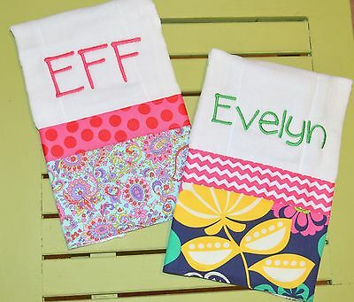 Girls Custom Personalized Monogram Burp Cloth with Fabric and Ribbon