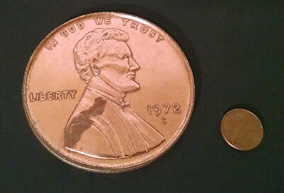 """Vintage Oversized Large 3"""" Novelty Coin 1972 Lincoln Penny"""