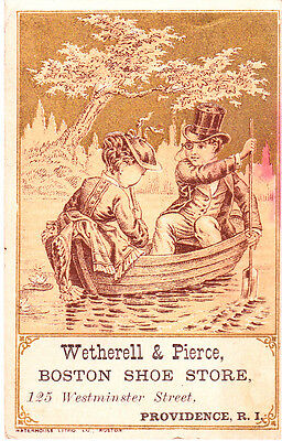 1890s Victorian Girl & Doll Trade Card~ Wetherell Boston Shoe Store ~Providence