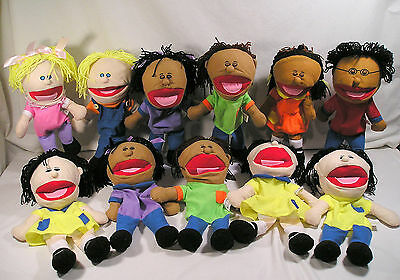 """7 Kids 13"""" Oriental Trading Puppets & Big 18"""" Afican American Lady Hand Puppet"""