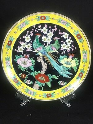"""Antique Japanese Hand Painted Pheasant Pair Floral Blossom Yellow Plate 12"""""""