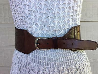 MiDAS WiDE MiLK CHOCOLATE BROWN TOOLED LEATHER BoHo / GYPSY DRESS BELT - S