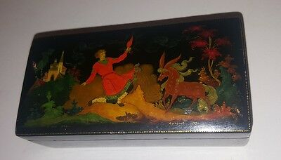 "Palekh Russian Lacquer Box after fairytale ""The Humpbacked horse"" 1965 Smirnov"