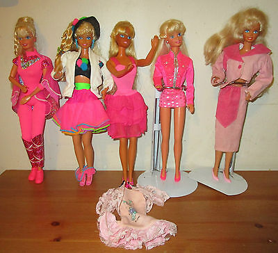 MATTEL'S  5 VINTAGE 80's AND 90's BARBIES LAST TIME TO BE LISTED
