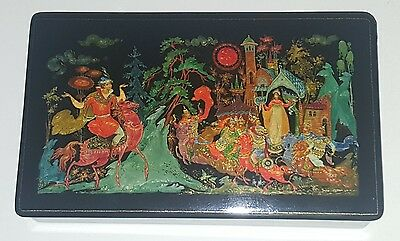 "Palekh Russian Lacquer Box ""The Tale of the Dead Princess"" 1972 V. Lezko"