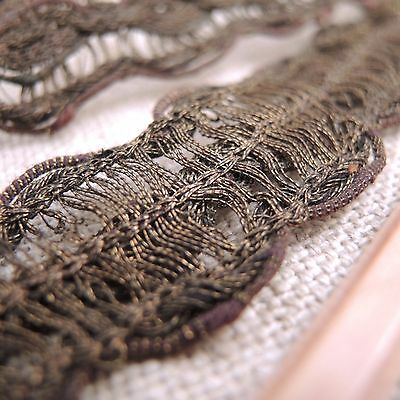 "Antique French Metallic Mesh Lace Trim Wide Ribbon 210"" Vintage Millinery Bronze"