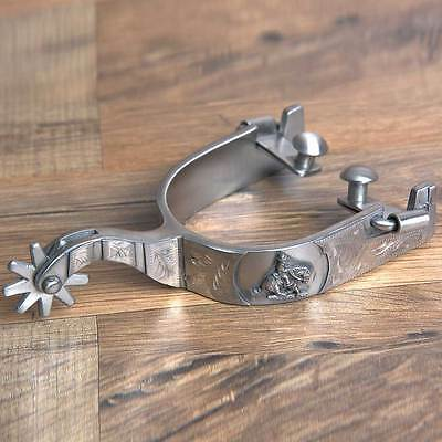 Hilason Western Mens Stainless Steel Brushed Cowboy Engraved Horse Riding Spurs