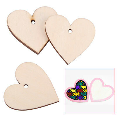 Wholesale 6 Sizes Wooden Love Heart Shapes Craft Scrapbooking with Single Hole