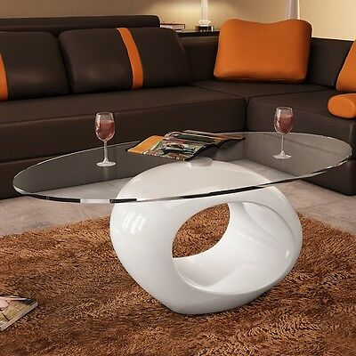 S# New Modern High Gloss Glass Top Coffee Table White Round Side Dinner Office H