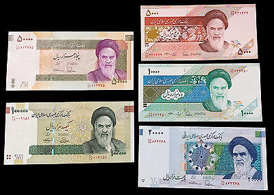 ***Complete Lot of 5 Iran Persia UNC Uncirculated Paper Money Banknote***