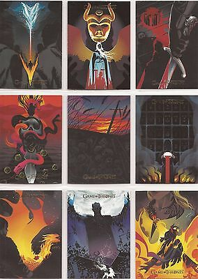 """Game of Thrones Season 6 -GOLD Parallel """"Beautiful Death"""" 20 Card Set #BD41-60"""