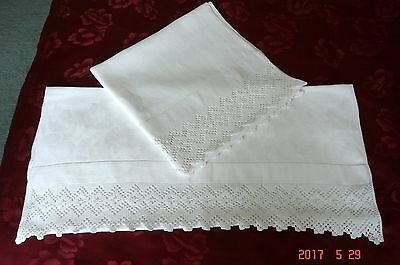 Pair Antique Cotton/ Linen Huckaback Towels, Crocheted Lace ~ Pristine Condition