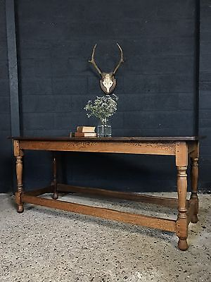 Vintage Antique Oak Refectory Country Farmhouse Kitchen Dining Table