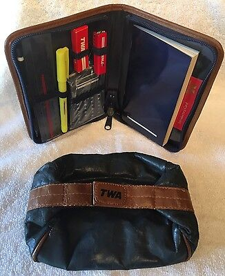 TWA Airlines - New Business Folio and Toiletry Case 1983