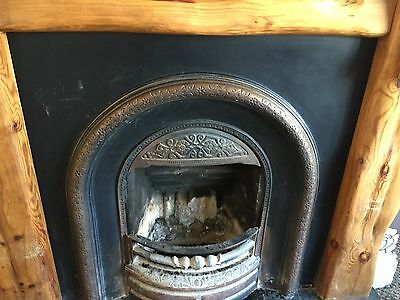 Cast iron fireplace with Slate hearth & wooden surround