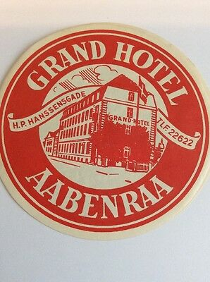 Vintage Luggage Label Sticker Grand Hotel Aabenraa