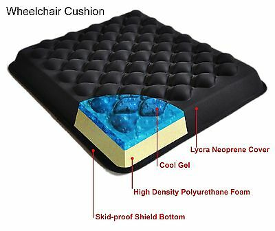 Wheelchair Cushion Cool Gel Foam Seat pressure relief waterproof skid proof sit