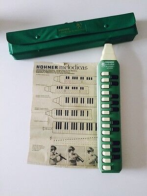 Vintage HOHNER Melodica Soprano 25 Key Green Made In Germany & Case & Inserts